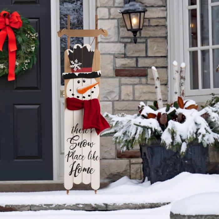 Wooden Christmas Snowman Porch Sign