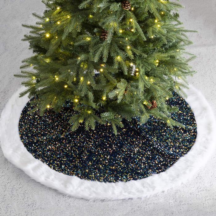 Navy Blue Sequin Christmas Tree Skirt