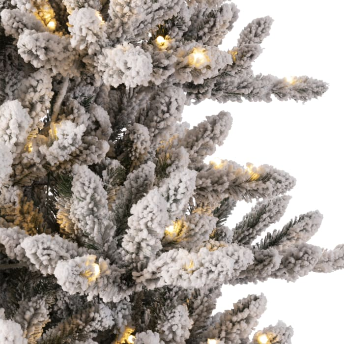 Pre-Lit Snow Flocked Fir Christmas Tree with 400 Warm White Lights
