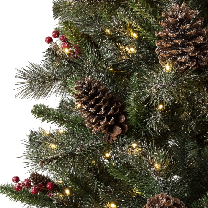 Green Pre-Lit Pine Artificial Christmas Tree with 1000 Warm White Lights, Pinecone, Berries and a Storage Bag