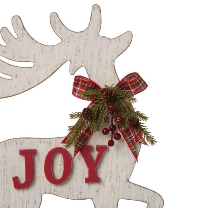 Set of 2 Wooden Farmhouse JOY Reindeer Table Decor