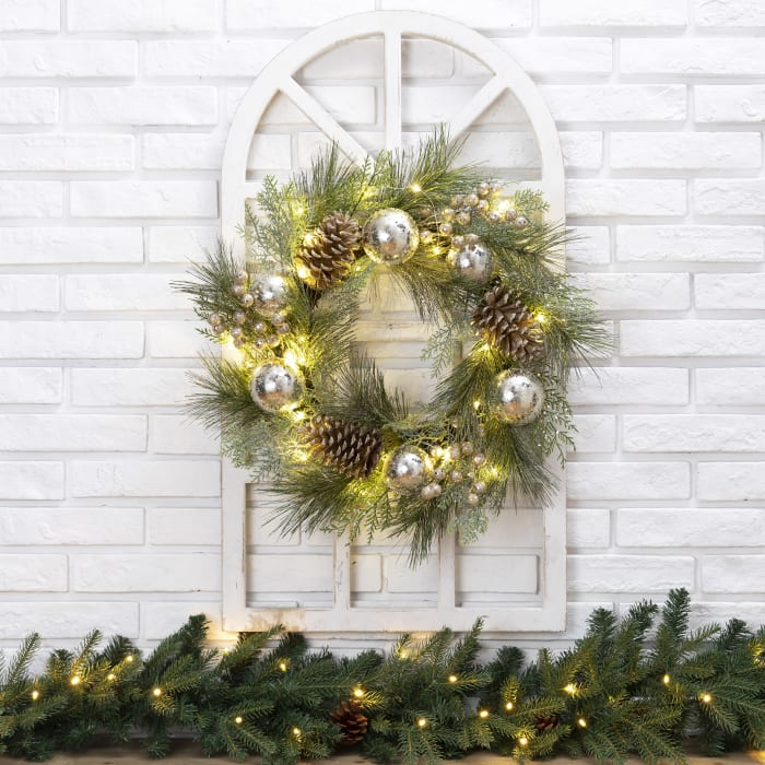 Wooden Window Frame with LED Pre-Lit Pinecone and Ornament Wreath