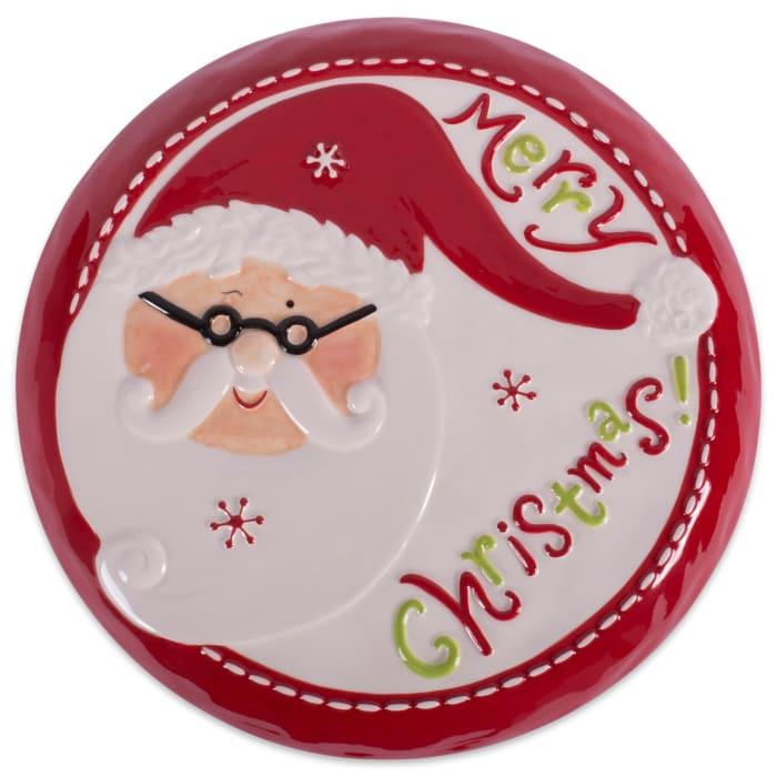 Ceramic Santa Cake Plate With Stand