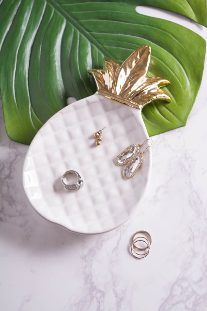 Gold Pineapple Plate Large Set of 2