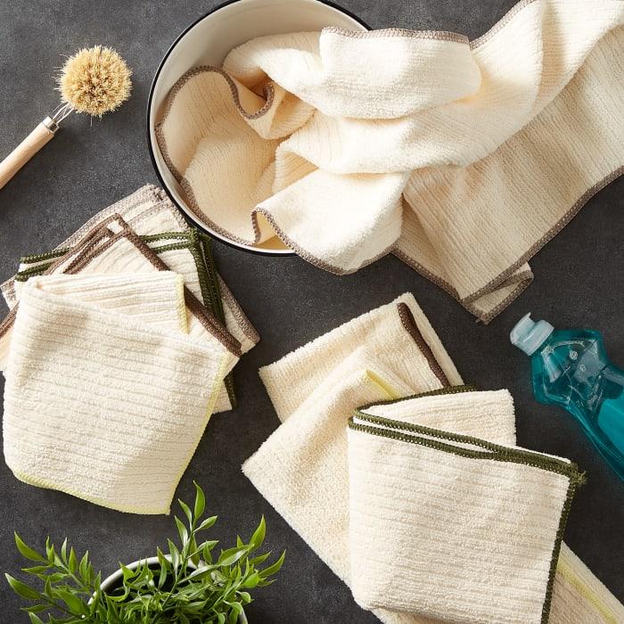 Assorted Natural Trim Microfiber Dishtowel & Dishcloth (Set of 8)