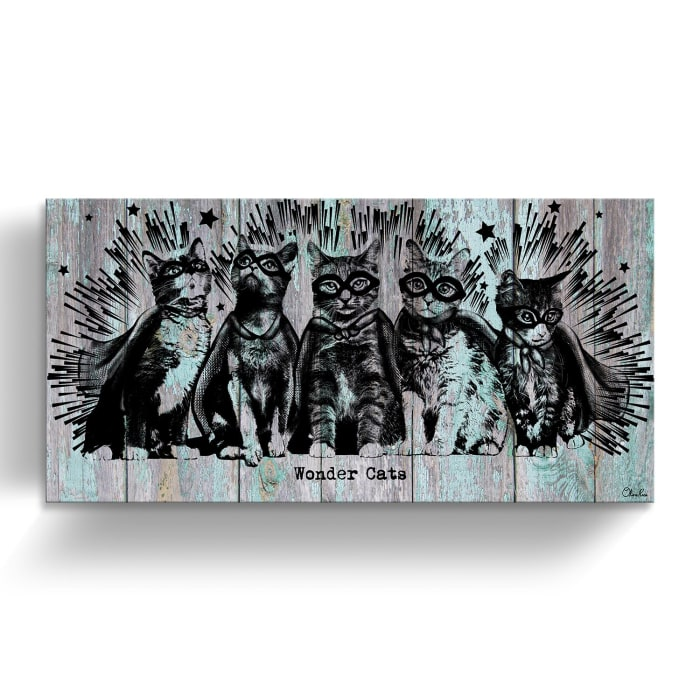 Kitty Superheroes Turquoise Canvas Pet Wall Art