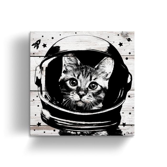 Astro-Kitty Beige Canvas Pet Wall Art
