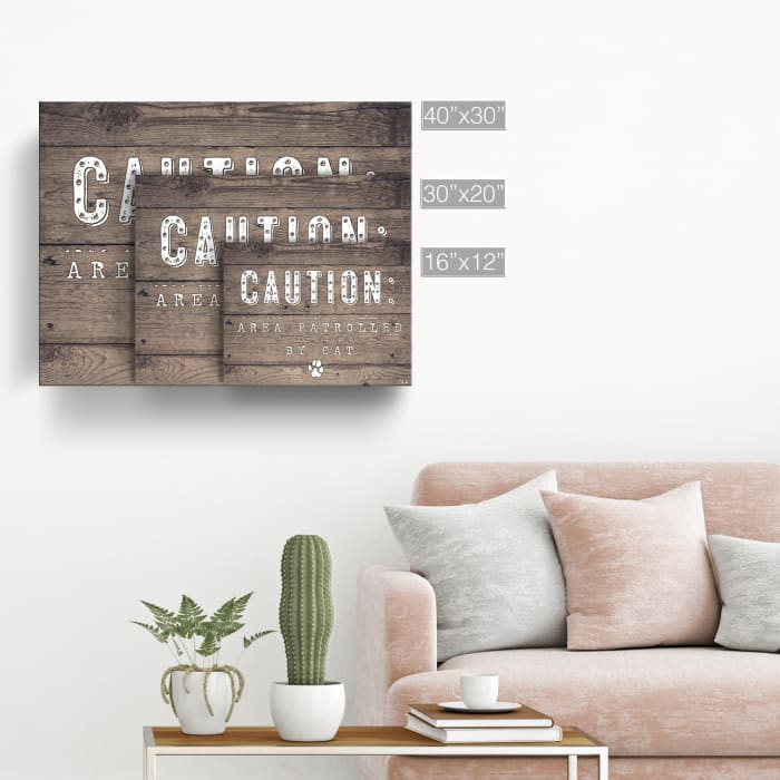 Beware of Cat Brown Canvas Pet Wall Art