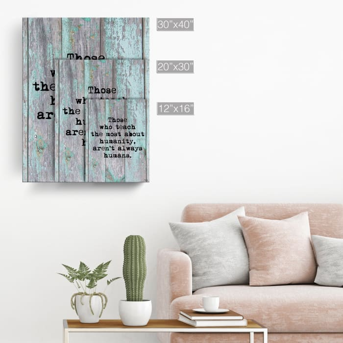 Humanity Lessons Turquoise Canvas Pet Wall Art