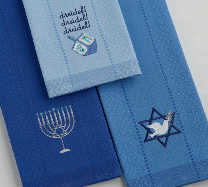 Assorted Blue Hanukkah Embroidered Dishtowels (Set of 3)