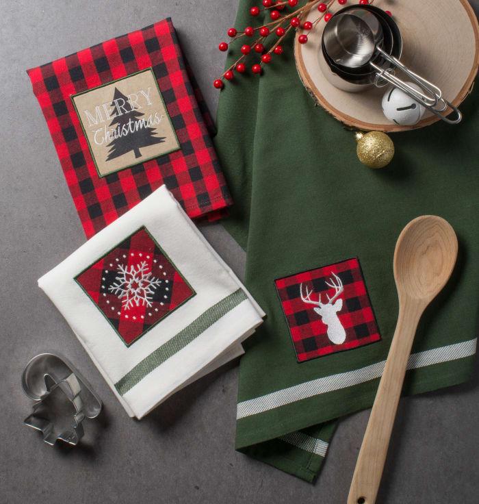 Assorted Christmas Fireside Embellished Dishtowels (Set of 3)