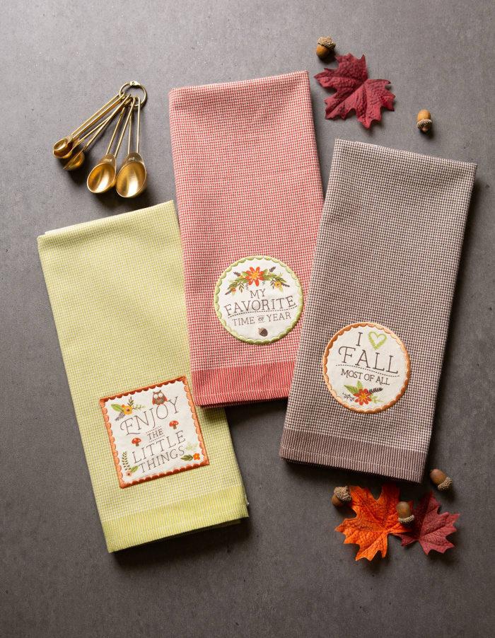 Assorted Fall In Love Embellished Dishtowel (Set of 3)