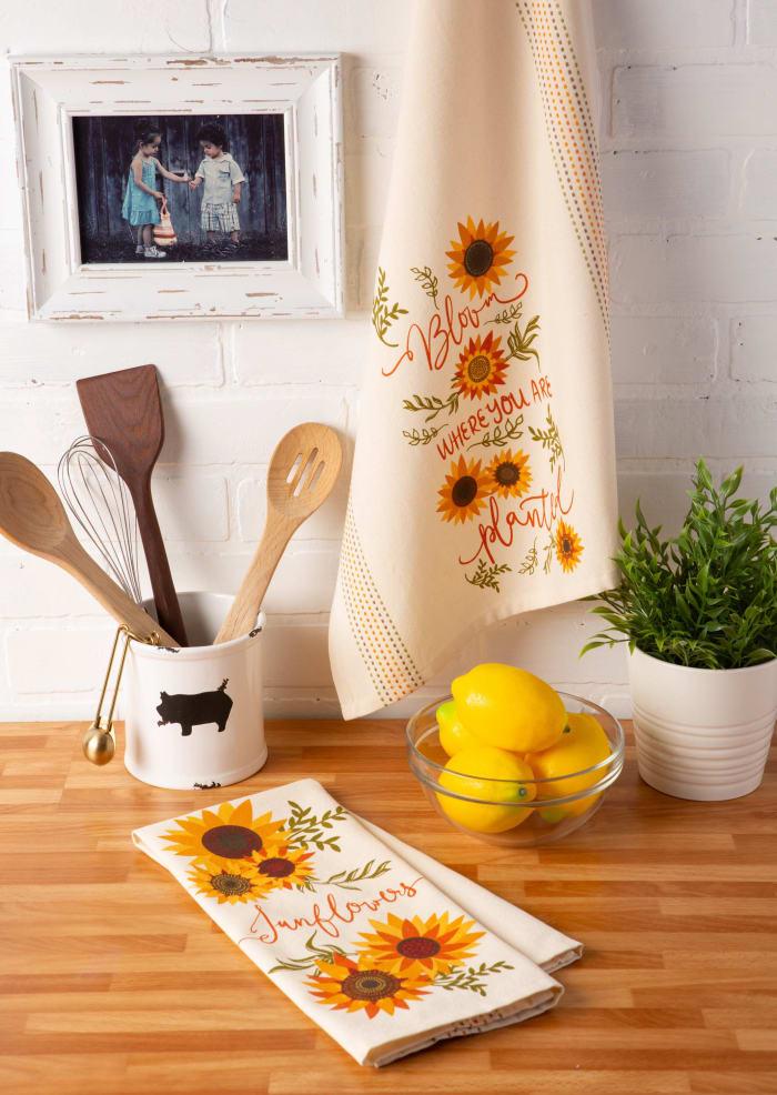Assorted Sunny Sunflowers Printed Dishtowel (Set of 2)