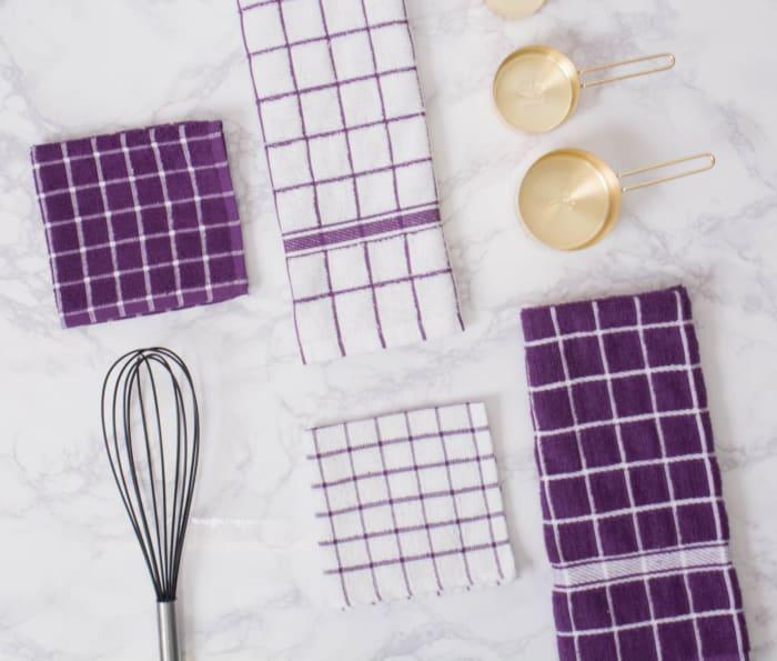 Eggplant Combo Windowpane Dishcloth (Set of 6)