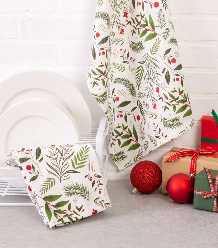Holiday Sprigs Printed Dishtowel (Set of 2)