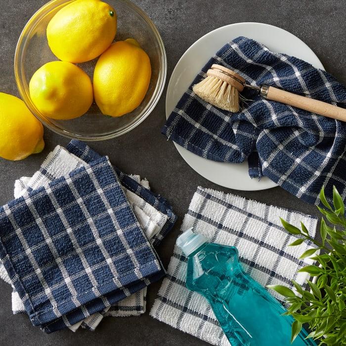 Nautical Blue Combo Windowpane Dishcloth (Set of 6)