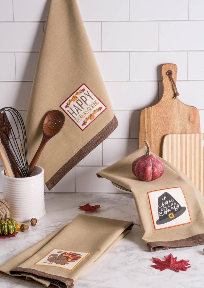 Pumpkin Spice Fall Embellished Dishtowels (Set of 3)