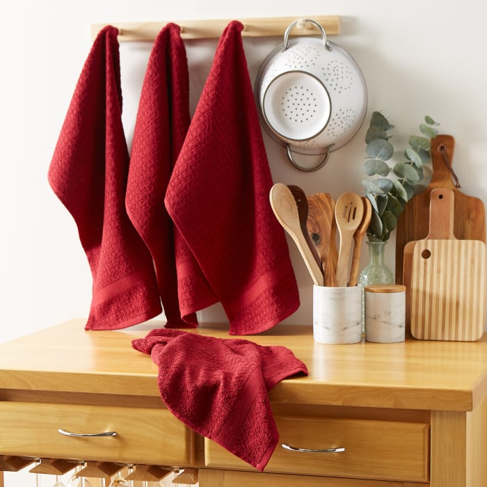 Solid Barn Red Waffle Terry Dishtowel (Set of 4)