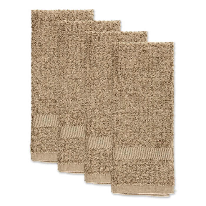 Solid Stone Waffle Terry Dishtowel (Set of 4)