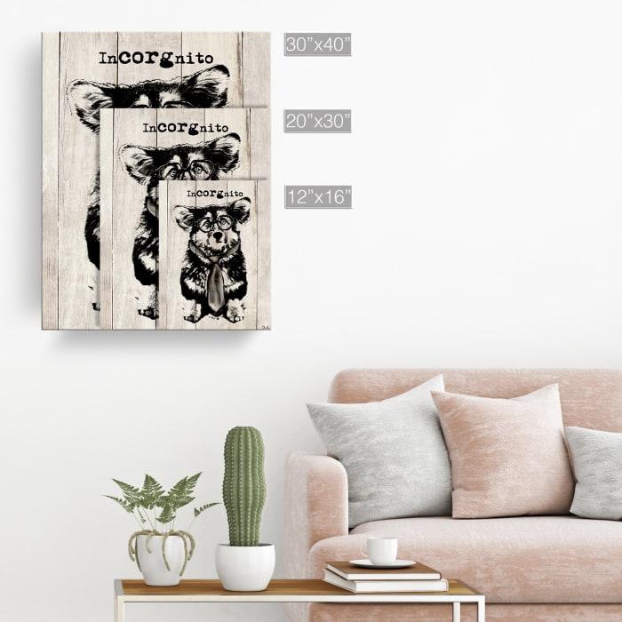 Elusive Corgi Beige Canvas Pet Wall Art