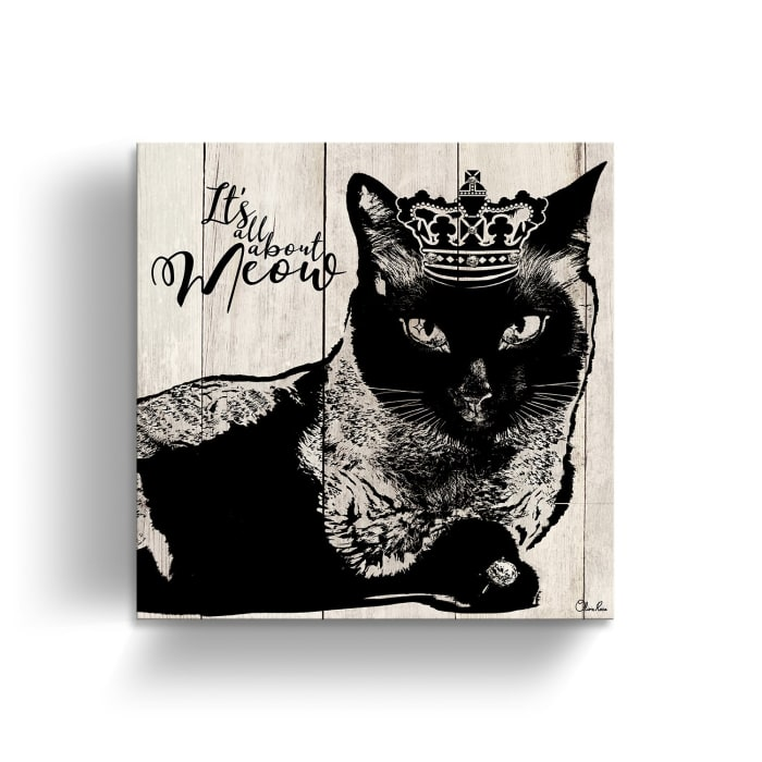 Privileged Kitty Beige Canvas Pet Wall Art