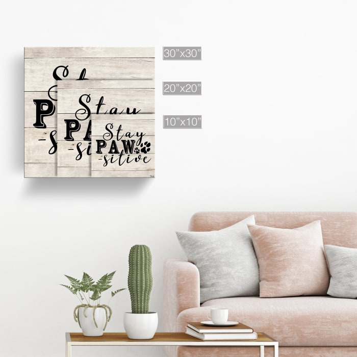 Stay Positive Beige Canvas Pet Wall Art