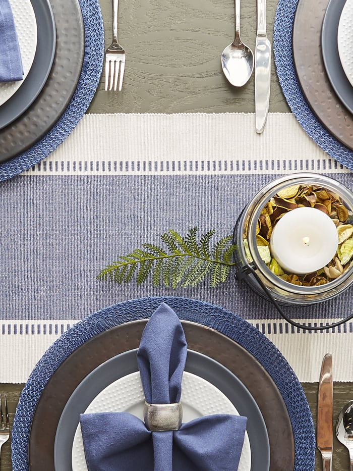 French Blue Floral Woven Round Placemat Set/6