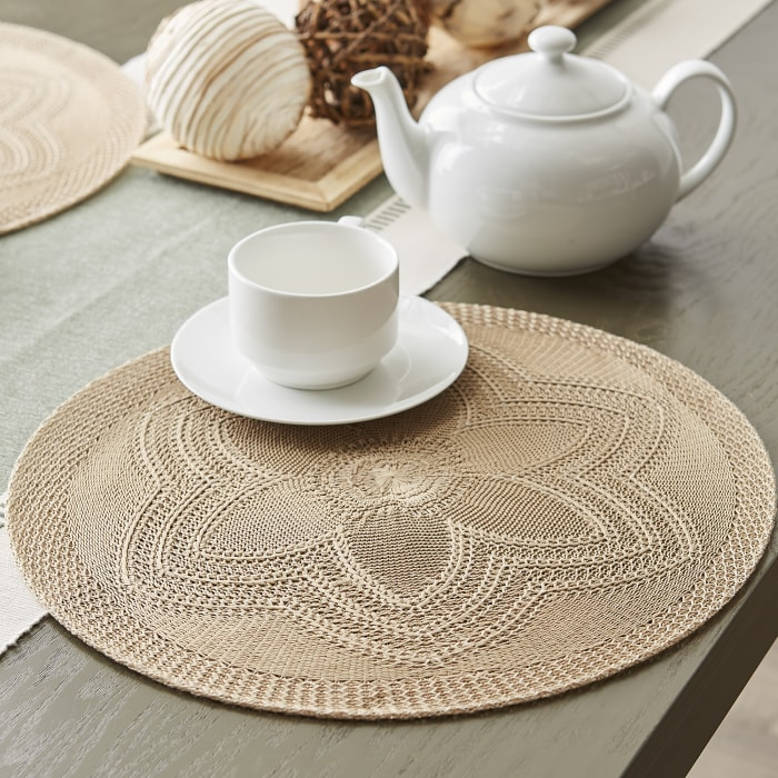 Stone Floral Woven Round Set of 6 Placemats