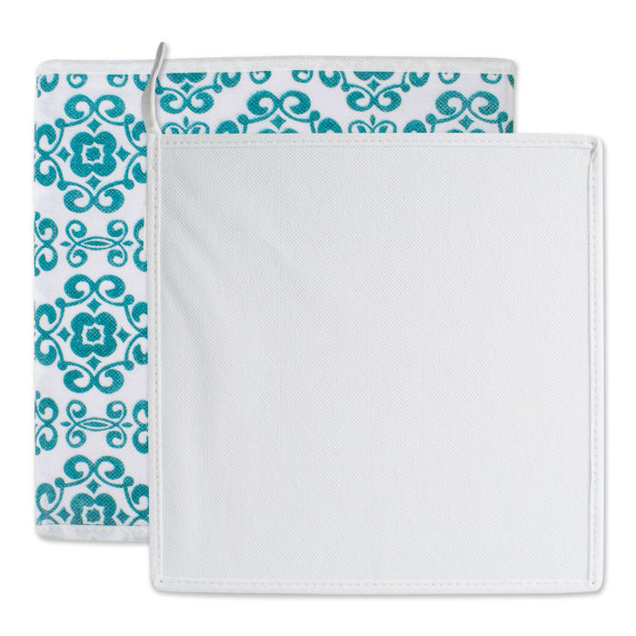 Nonwoven Polyester Cube Scroll Teal Square 11x11x11 Set/2