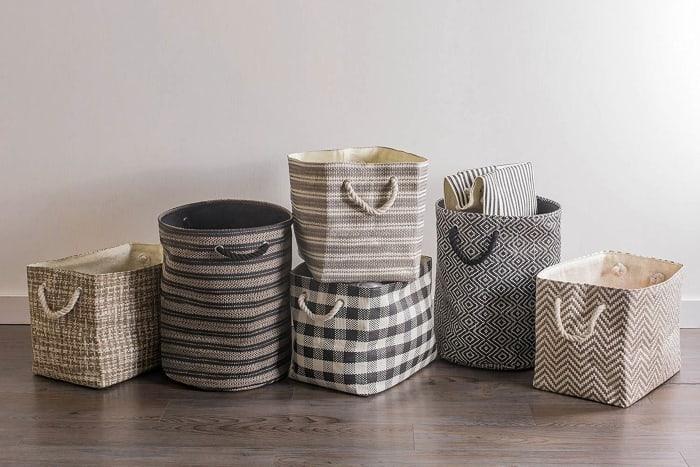 Paper Bin Basketweave Black/White Rectangle Large 17x12x12