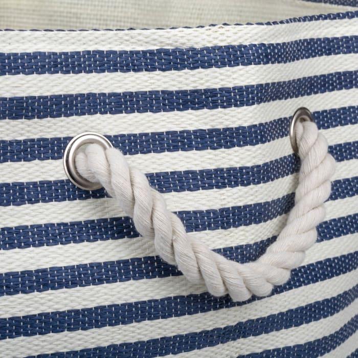 Paper Bin Pinstripe Nautical Blue Round Large 20x15x15