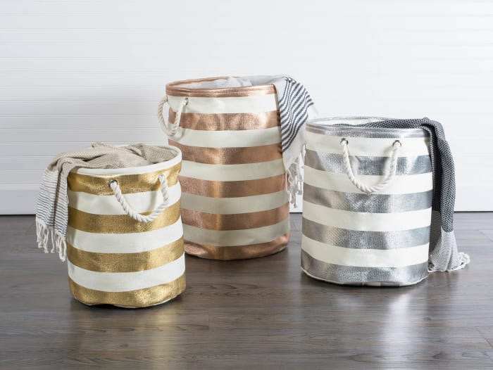 Paper Bin Stripe Gold Round Medium 13.75x13.75x17