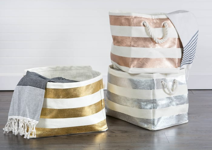 Paper Bin Stripe Silver Rectangle Small 11x10x9