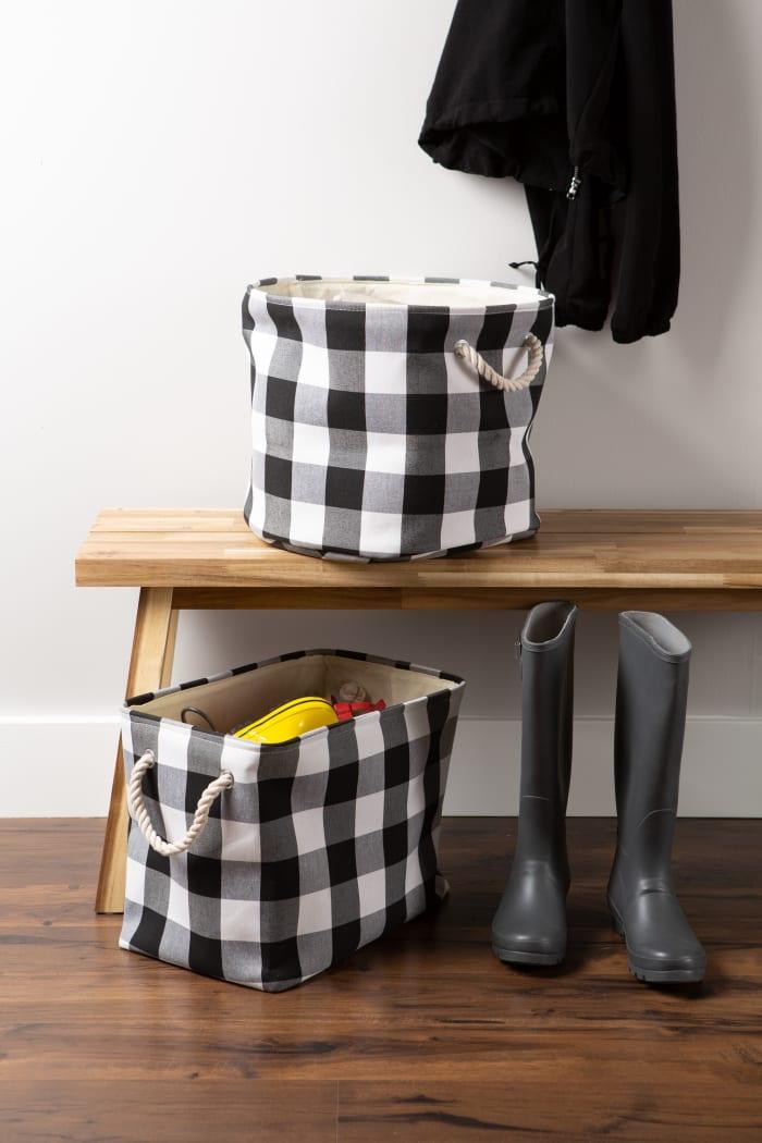 Polyester Bin Buffalo Check White/Black Rectangle Large 17.5x12x15