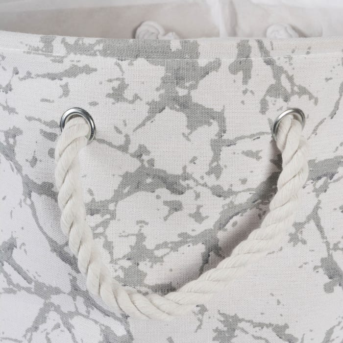 Polyester Bin Marble White Rectangle Large 17.5x12x15