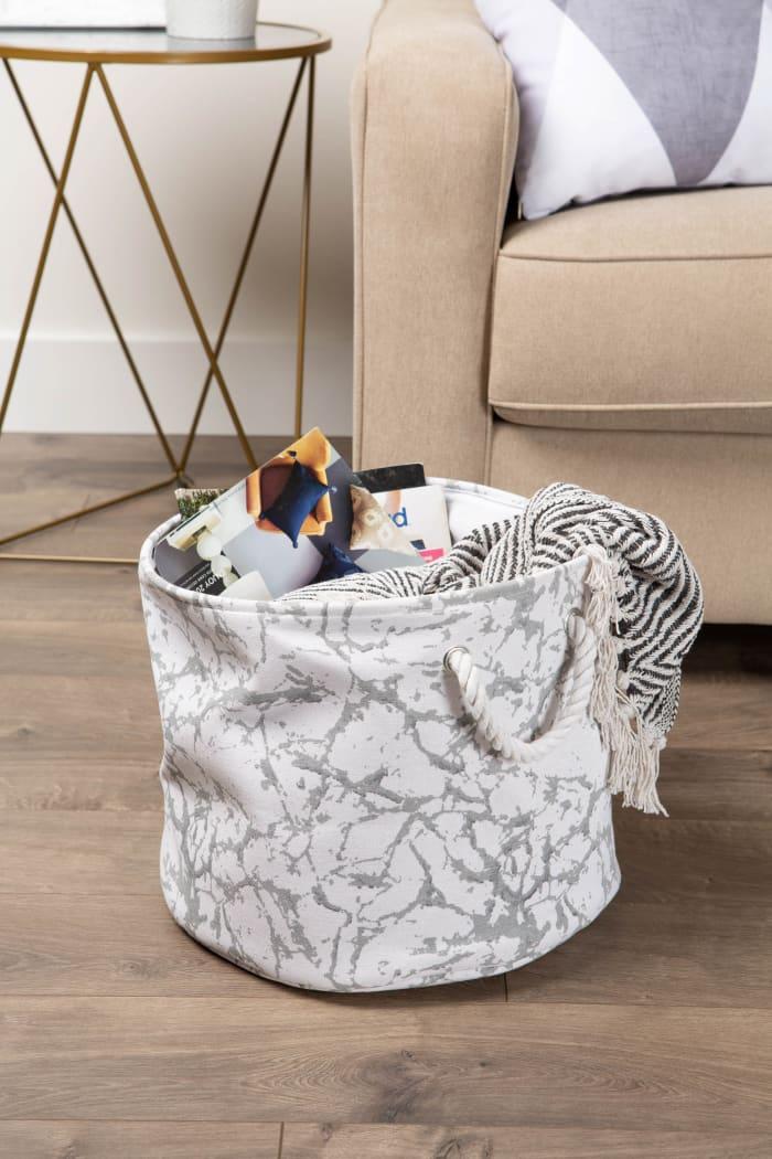 Polyester Bin Marble White Round Medium 12x15x15
