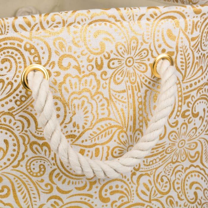 Polyester Bin Paisley Gold Rectangle Medium 16x10x12