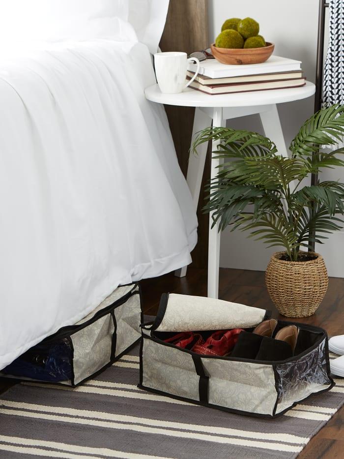 Damask Under-The-Bed Shoes Soft Storage (Set of 2)