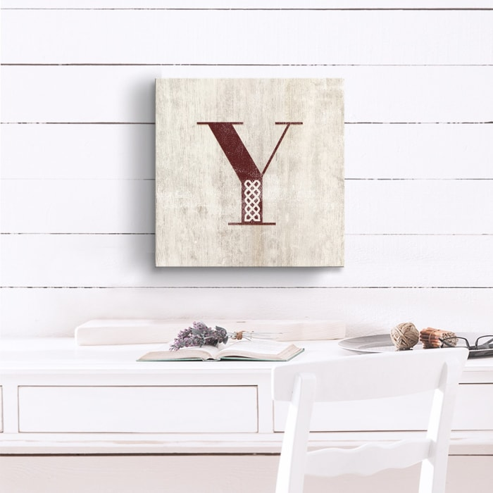 Vintage Inspired Monogram Tan Canvas Wall Art - Letter Y