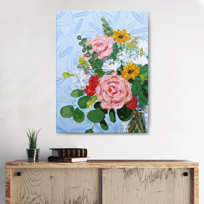 Blushing Rose Multicolored Canvas Wall Art