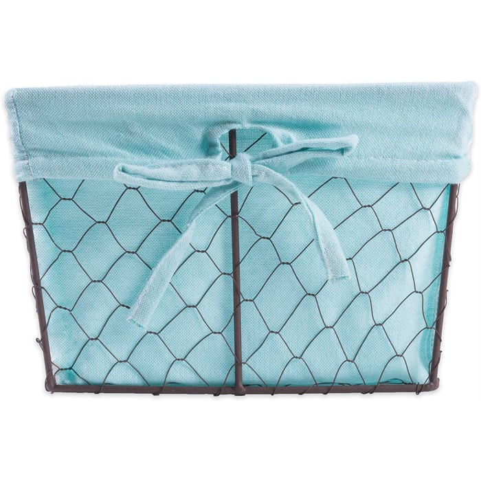 Medium Rustic Bronze Chicken Wire Aqua Liner Basket (Set of 2)