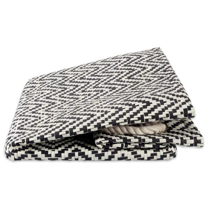 Paper Bin Chevron Black Rectangle Medium 15x10x12