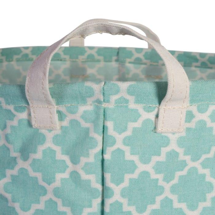 PE-Coated Cotton/Poly Laundry Bin Lattice Aqua Rectangle Assorted Small (Set of 3)