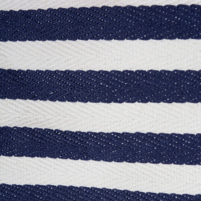 PE-Coated Herringbone Woven Cotton Laundry Bin Stripe French Blue Round Assorted (Set of 3)