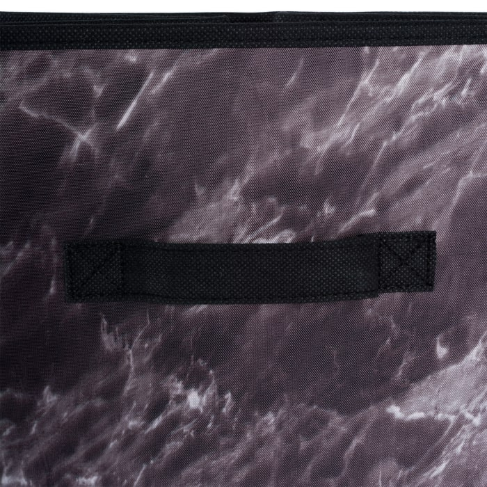 Polyester Laundry Cube Marble Black Square 11x11x11 Set/2