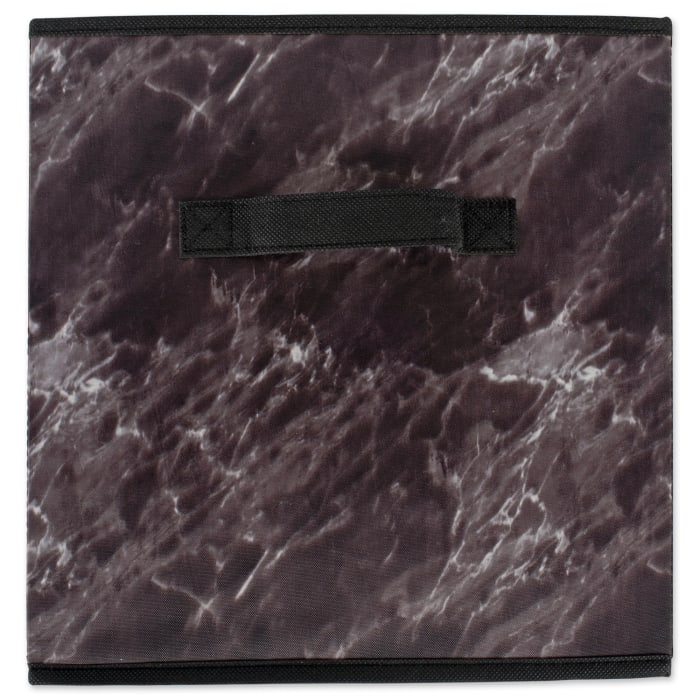 Polyester Laundry Cube Marble Black Square 11x11x11 Set/4