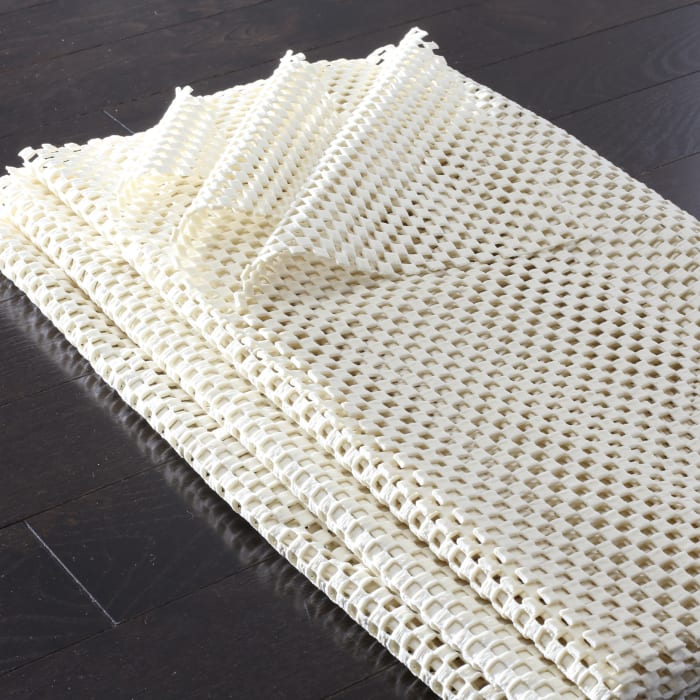 Square White Polyester Rug  6' x 6'