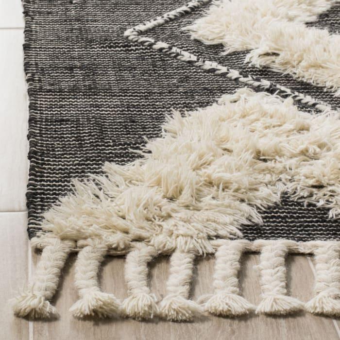 Black Wool Rug  3' x 5'