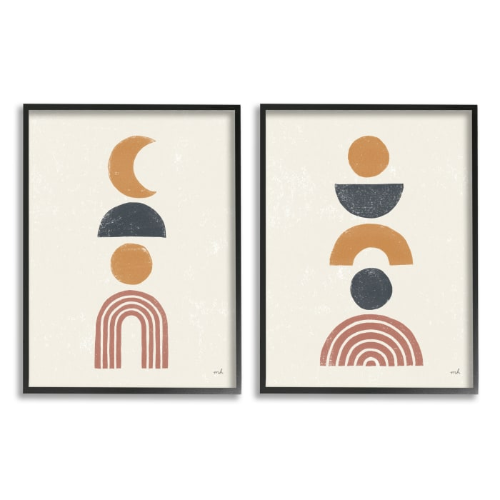 Sun and Moon Bohemian Symbols Neutral Primary  2pc Black Framed Giclee Texturized Art Set by Moira Hershey 11 x 14