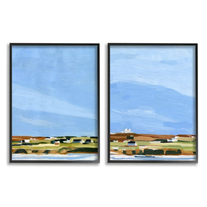 Abstract Seaside Town Landscape Soft Blue Green 2pc Black Oversized Framed Giclee Texturized Art Set by Emma Scarvey 16 x 20